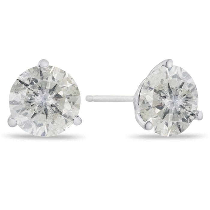 a1c7d1bc4 2.00 Carat Round Cut Clarity Enhanced Diamond Stud Earrings In 14 ...