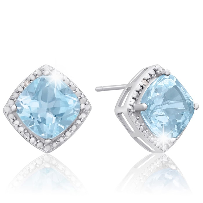 68ab507fc 3 3/4 Carat Cushion Cut Blue Topaz and Diamond Earrings In Sterling Silver