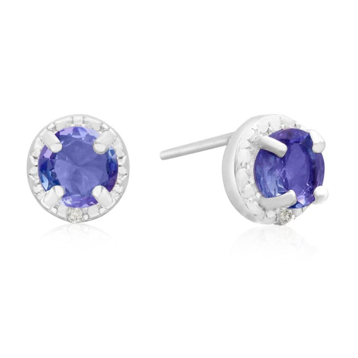 1 Carat Tanzanite And Diamond Halo Stud Earrings In Sterling Silver Superjeweler