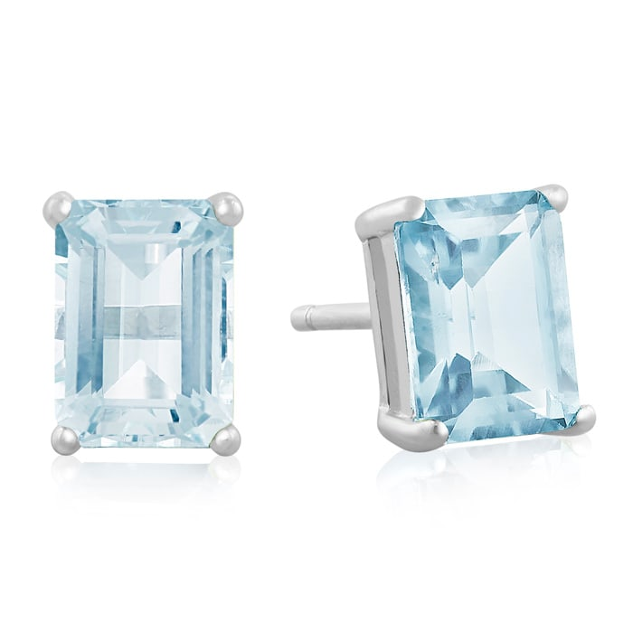 ade9bd564 3ct Emerald Cut Blue Topaz Earrings in Sterling Silver | December ...