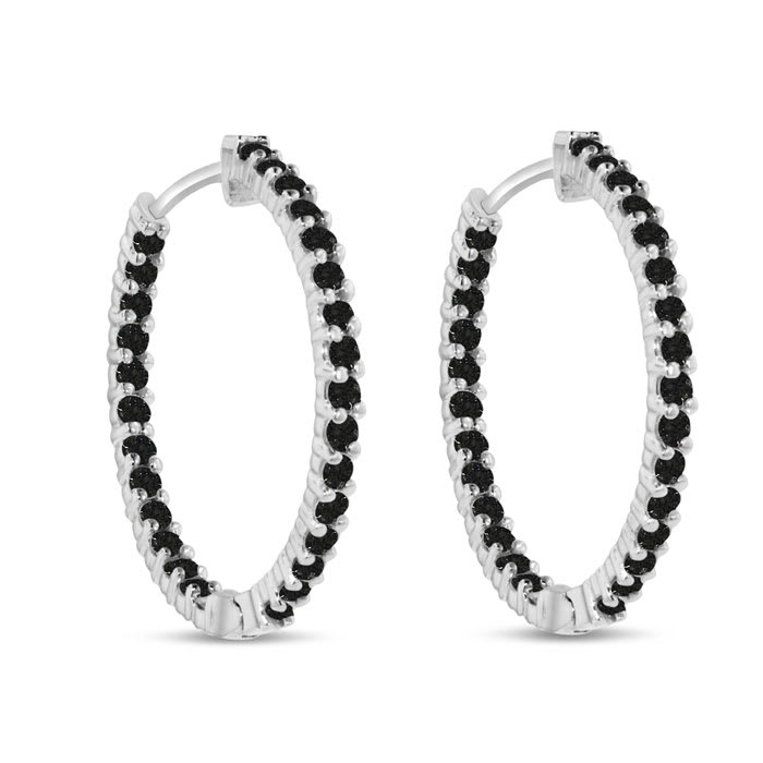 2ct Endless Black Diamond Hoop Earrings Crafted In Solid 14 Karat White Gold Duplicate Of Item 11702 Instead