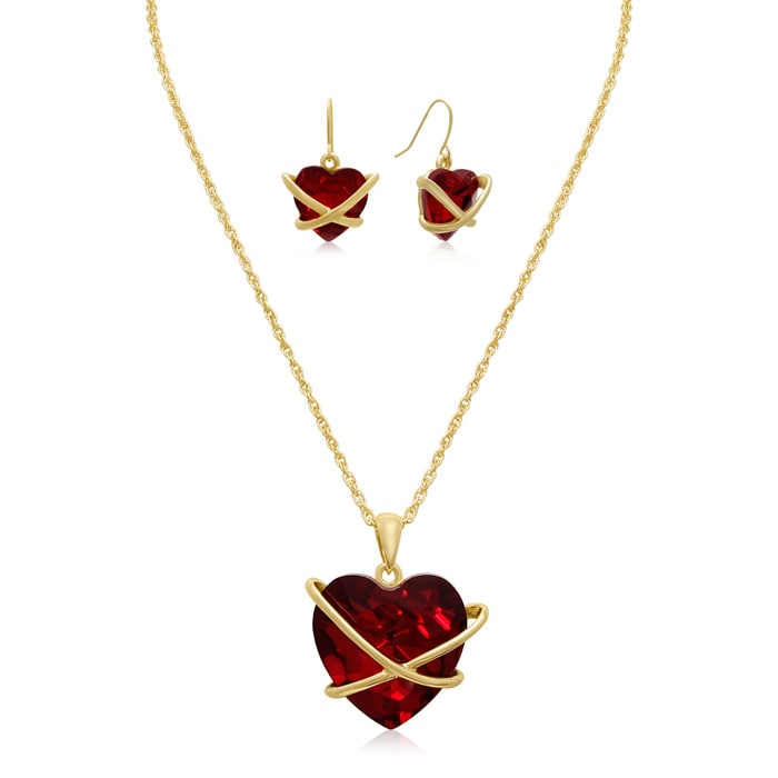 c945969da Crystal Ruby Heart Necklace With Free Matching Earrings ...