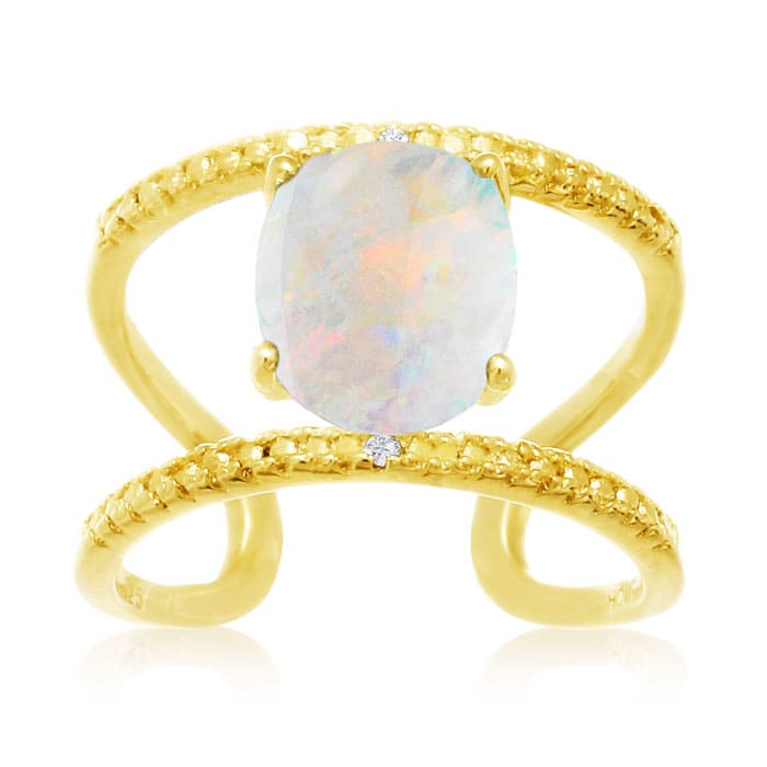 3 Carat Opal And Diamond Open Shank Ring In 14 Karat Yellow Gold Over Sterling Silver October Birthstone Superjeweler Com