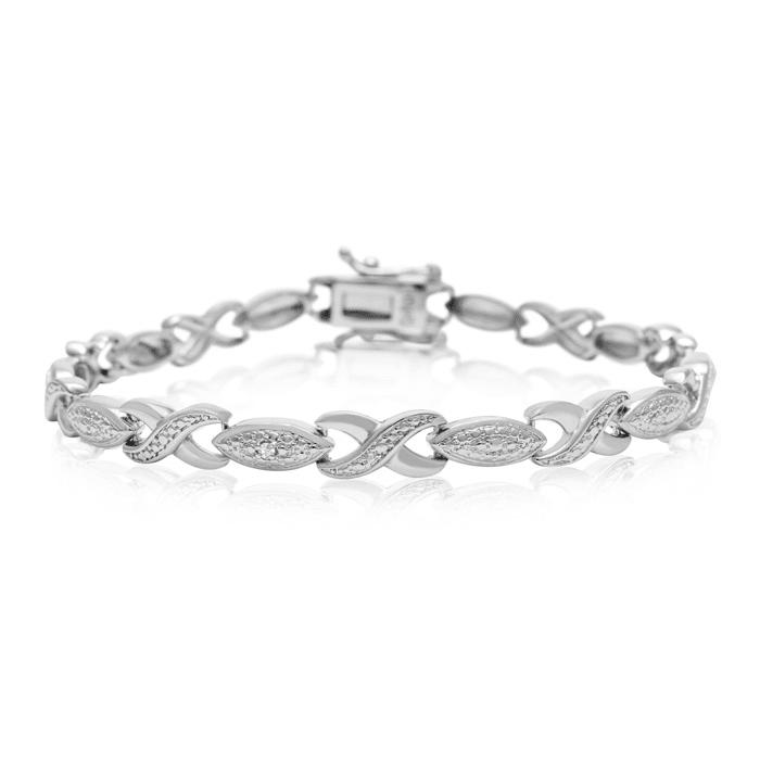 9b2eba9d1 Diamond Accent XO Bracelet, Platinum Overlay, 7 Inches