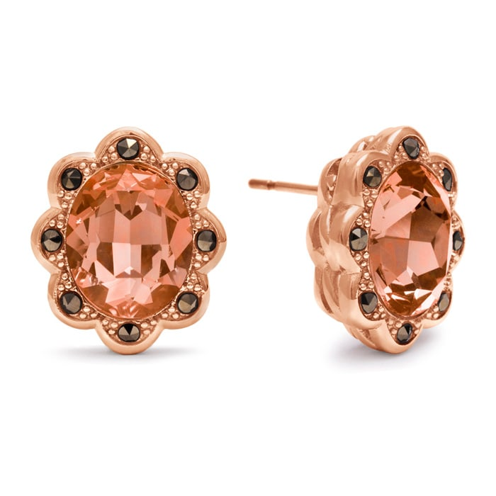 e236ff6c7007a8 4ct Oval Shape Crystal Morganite and Marcasite Earrings, Rose Gold ...
