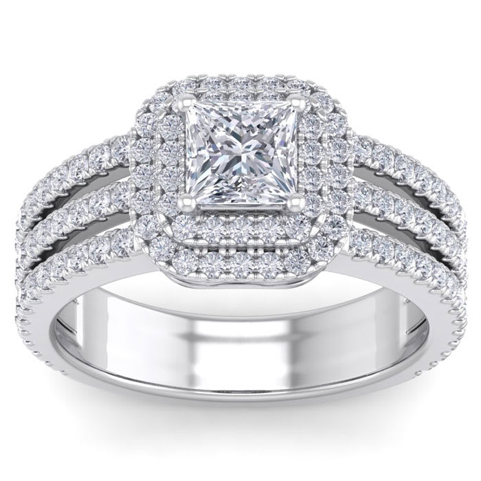 12d8954ef6a3eb 2 Carat Double Halo Massive Looking Princess Cut Engagement Ring In 14K  White Gold