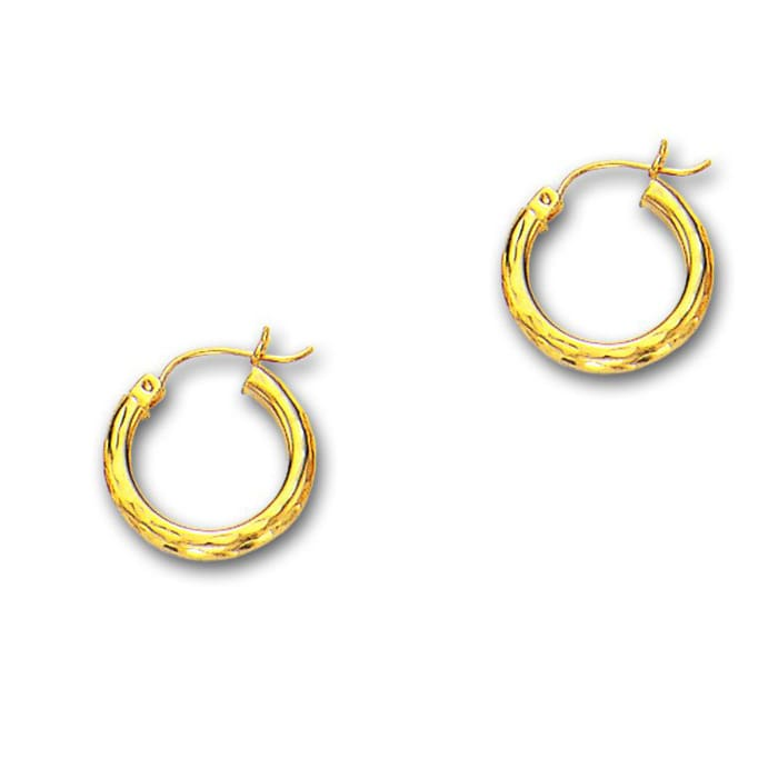 14 Karat Yellow Gold Polish Finished 20mm Etched Hoop Earrings With Hinge Notched Closure