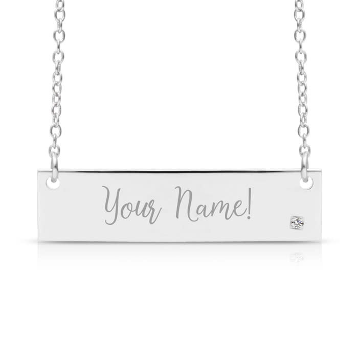 Sterling Silver Necklace Men Bar Pendant Free Engraving chain 18 inch Personalized Custom Engraved Name or Words