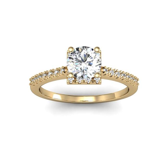 28fe4844c1e7d 1 Carat Square Halo With Round Brilliant Solitaire Diamond ...