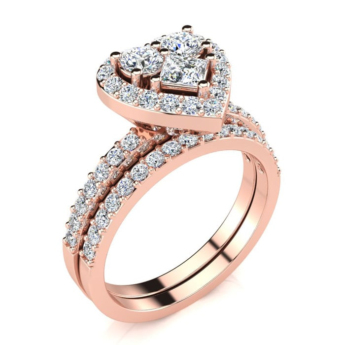 1 carat heart shaped bridal engagement ring set in 14k rose gold save card - Heart Shaped Wedding Ring