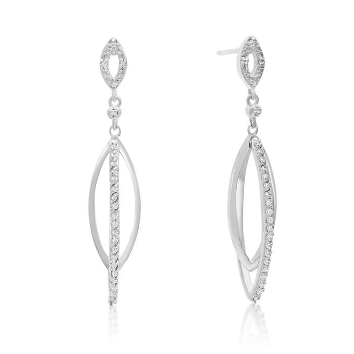 757e44b7a 1/4 Carat Diamond Dangle Earrings In Sterling Silver, 1 1/2 Inches