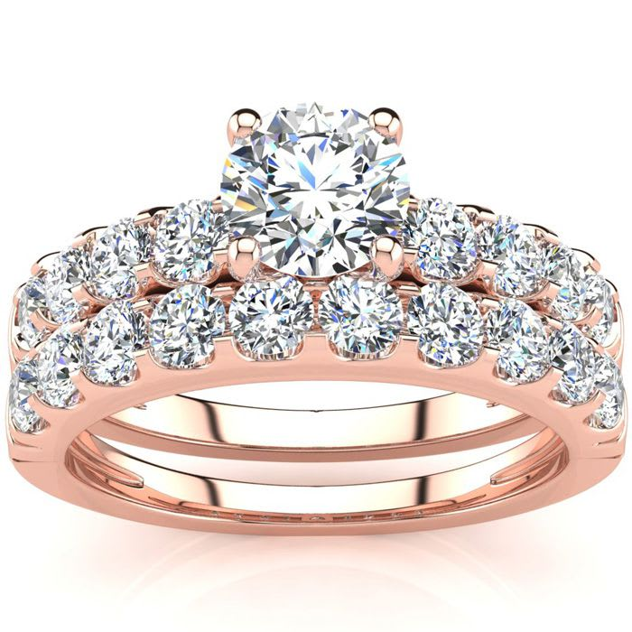 2 Carat Round Center Engagement Ring And Wedding Band Set In 14k