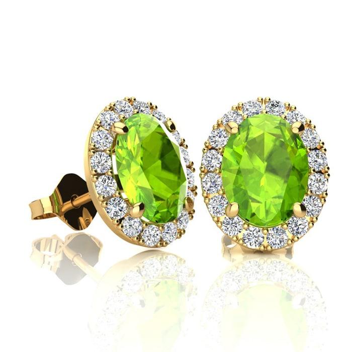 a29262667a6319 2 Carat Oval Shape Peridot and Halo Diamond Stud Earrings In 14 Karat Yellow  Gold