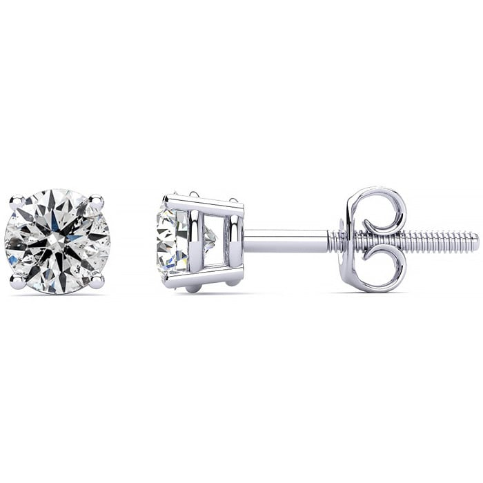 e67f85c9d Colorless 1 Carat Genuine Natural F-G Super White Diamond Stud Earrings in  14 Karat White Gold. Unbelievable Value!