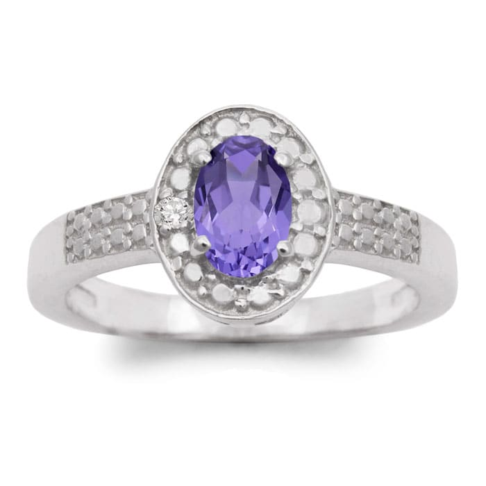 4695aa0ba 1/2 Carat Oval Shape Tanzanite and Halo Diamond Ring In Sterling Silver