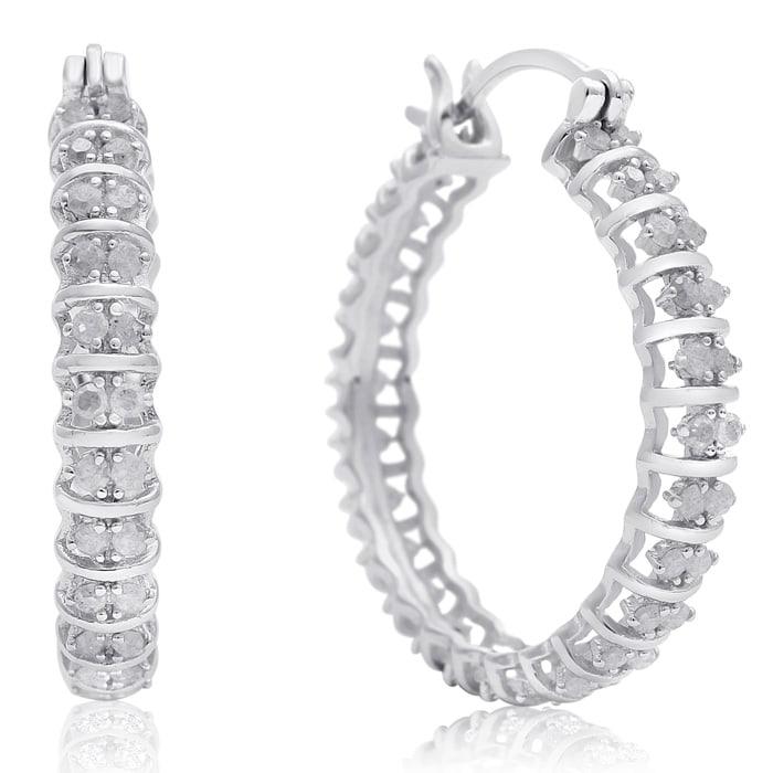 1 2 Carat Natural Raw Diamond Hoop Earrings Inch
