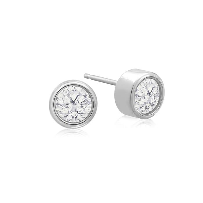 1 2 Carat Bezel Set Diamond Stud Earrings Crafted In 14 Karat White Gold Superjeweler