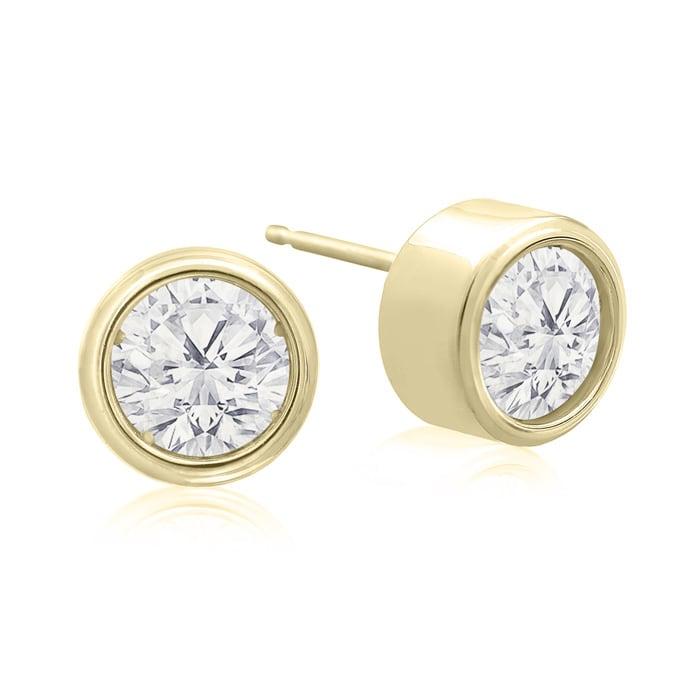 2 Carat Bezel Set Diamond Stud Earrings Crafted In 14 Karat Yellow Gold Superjeweler