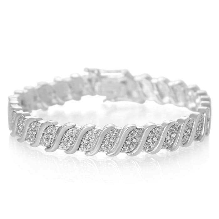54a6572a2 1/4 Carat Classic Natural Diamond Tennis Bracelet In Platinum Overlay