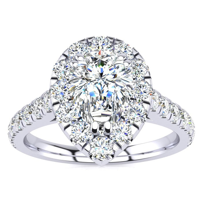 34a3afa71b3963 Halo Engagement Rings | 14 Karat White Gold 1 Carat Pear Shape Halo ...