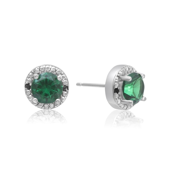 cb0164e58 1 1/2 Carat Emerald and Black Diamond Halo Stud Earrings in Sterling Silver