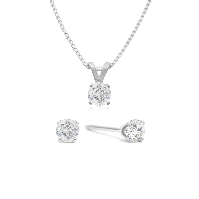 faeab3ac8 1/4 Carat Diamond Stud Earrings and Necklace in Solid Sterling Silver