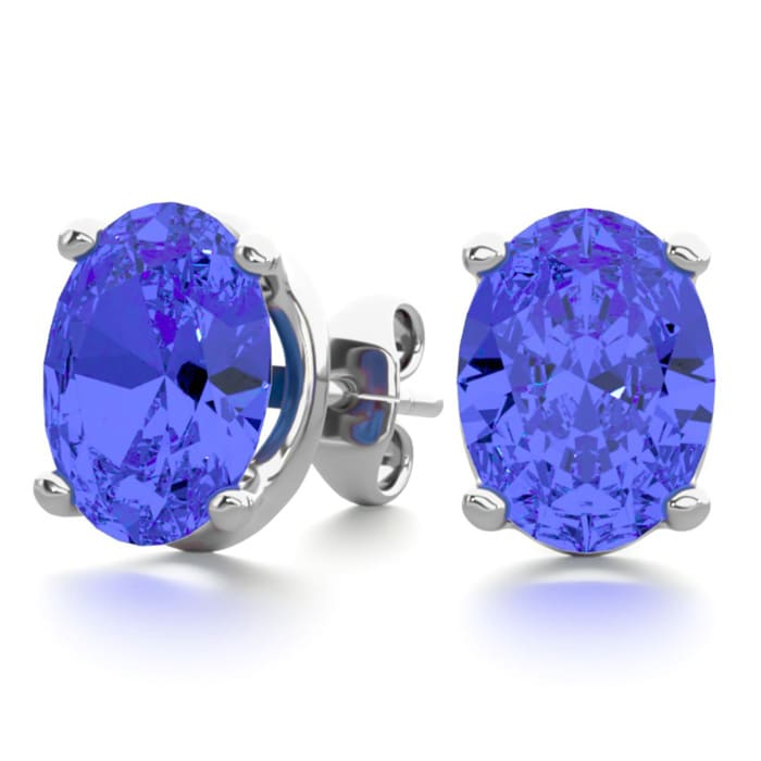 Tanzanite Earrings 2 1 2ct Oval Stud In Sterling Silver Superjeweler