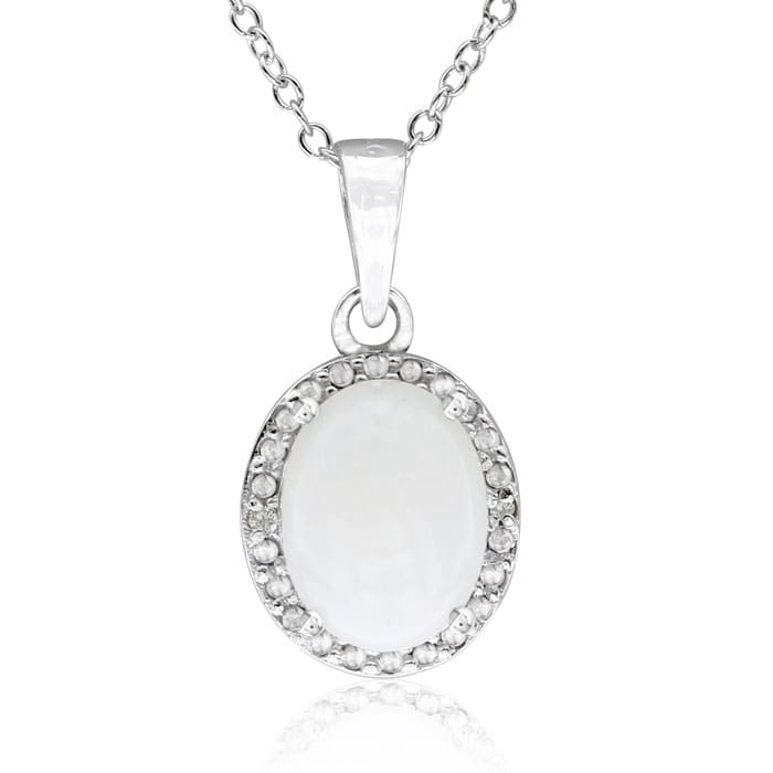 1 1/2 Carat Opal and Halo Diamond Necklace In Sterling Silver, 18 Inches