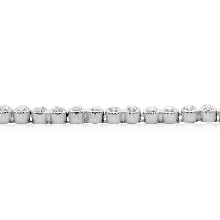 1/2 Carat Classic Round Diamond Tennis Bracelet In Platinum Overlay. Natural Rose Cut Diamonds