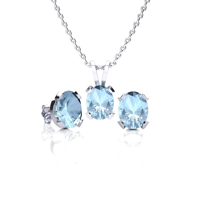 2 1 Carat Oval Aquamarine Necklace Earring Set In Sterling Silver Blue Gemstones March Birthstone Best Jewelry Deals