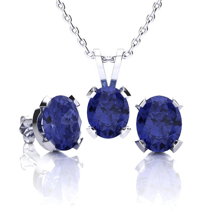 Tanzanite Necklace And Earring Set 3ct Oval In Sterling Silver Superjeweler