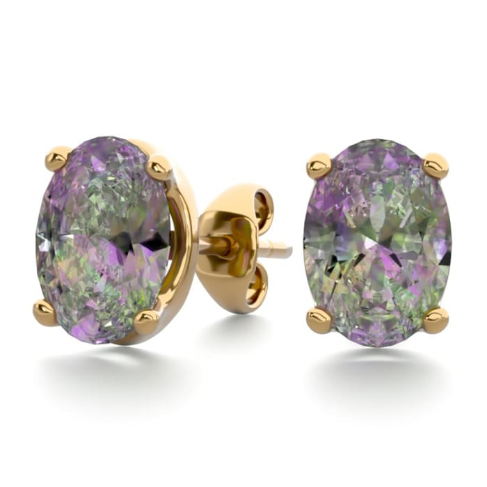 Mystic Topaz Earrings 1 2ct Oval Stud In 14k Yellow Gold Over Sterling Silver Superjeweler