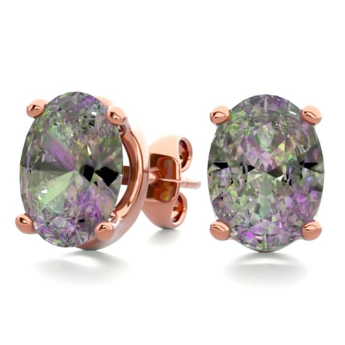 366af7eb5 2 Carat Oval Shape Mystic Topaz Stud Earrings In 14K Rose Gold Over Sterling  Silver
