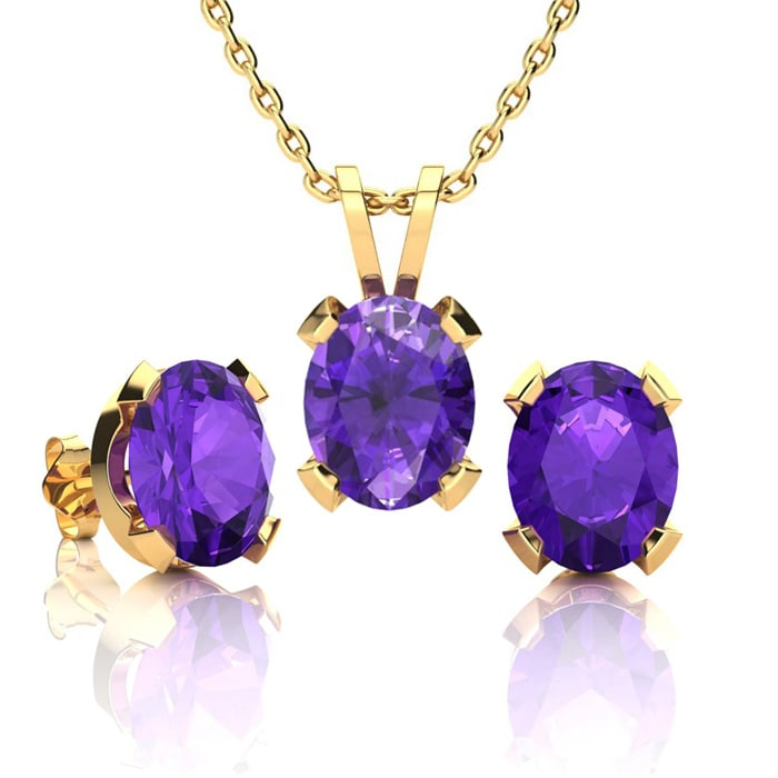 Amethyst Necklace And Earring Set February Birthstone 3ct Oval In 14k Yellow Gold Over Sterling Silver