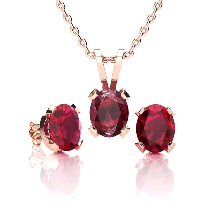1259f32656701 1 2/3 Carat Oval Shape Ruby Necklace and Earring Set In 14K Rose ...