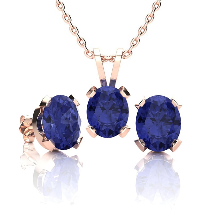 Tanzanite Necklace And Earring Set 3ct Oval In 14k Rose Gold Over Sterling Silver Superjeweler