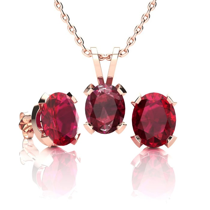 Ruby Necklace And Earring Set July Birthstone 3ct Oval In 14k Rose Gold Over Sterling Silver Superjeweler