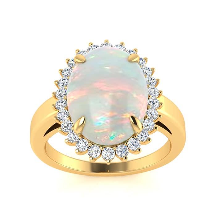 8bd8a6a095d6bf Opal Rings   October Birthstone   4 Carat Opal and Diamond Ballerina ...