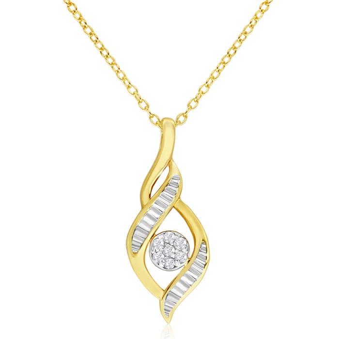 11e4e9a9d9e62 14K Yellow Gold 1/10 Carat Diamond Designer Drop Necklace, 18 Inches ...