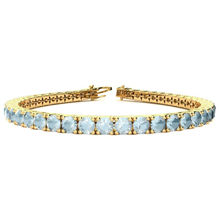 Blue Gemstones Aquamarine Bracelet March Birthstone 7 Inch 1 3 Carat Tennis In 14k Yellow Gold Superjeweler
