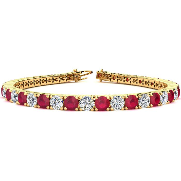 Red Gemstones Ruby Bracelet July Birthstone 6 5 Inch 10 Carat And Diamond Tennis In 14k Yellow Gold Superjeweler