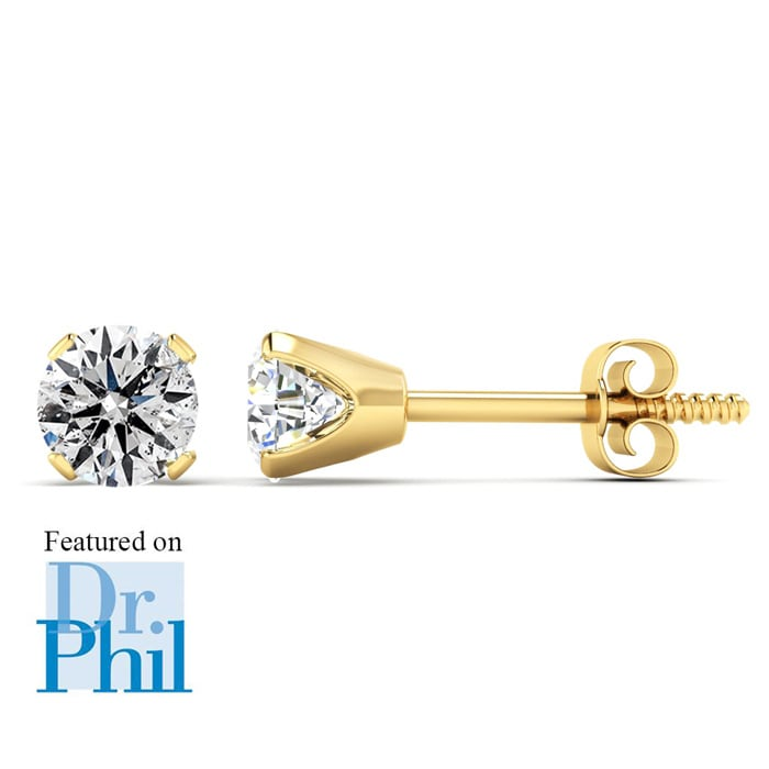 19a57c950 1/2ct Diamond Stud Earrings in 14k Yellow Gold. Featured on Dr. Phil ...