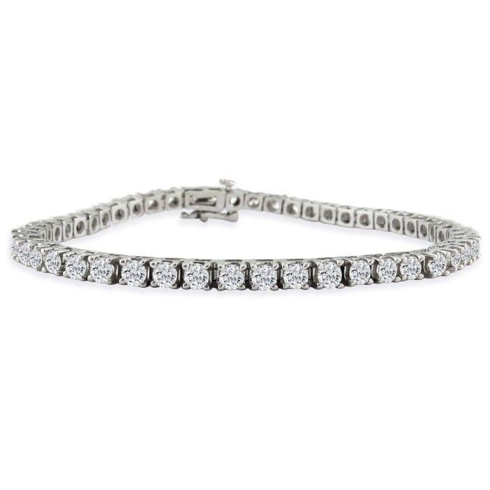 7 Inch 14k White Gold 5 Carat Diamond Tennis Bracelet