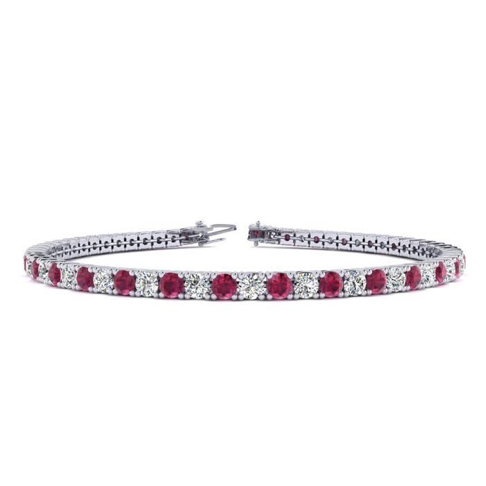 Red Gemstones Ruby Bracelet July Birthstone 6 5 Inch 4 1 Carat And Diamond Tennis In 14k White Gold Superjeweler