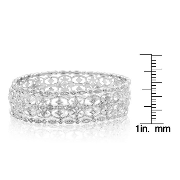 1/4 Carat Diamond Bangle Bracelet Set In Sterling Silver