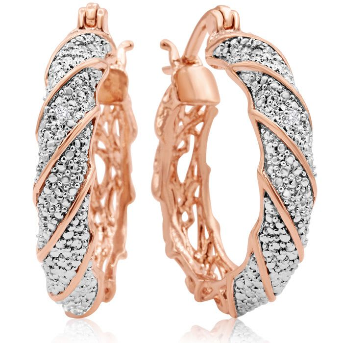 4c4df054a Two Diamond Hoop Earrings In Rose Gold Overlay, 1 Inch | SuperJeweler