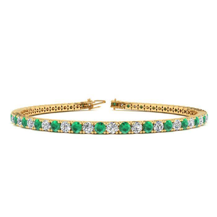 77eca5cd03e07 Green Gemstones | Emerald Bracelet | May Birthstone | 6.5 Inch 3 ...