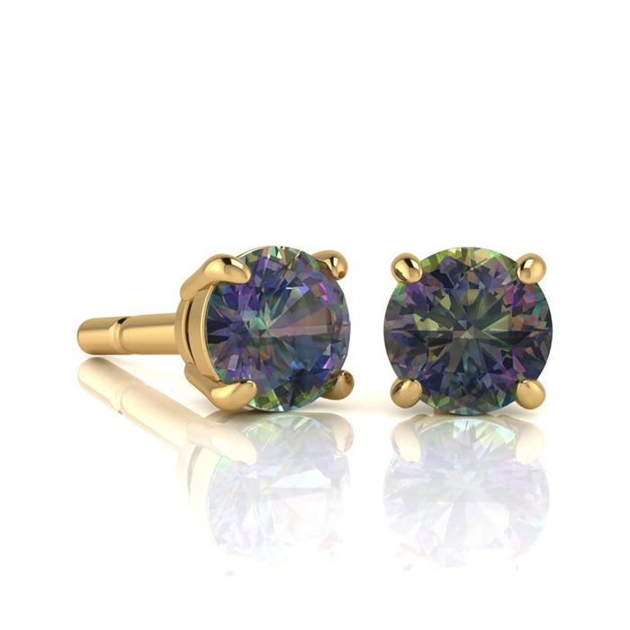 Mystic Topaz Earrings 1 3 4ct Round Stud In 14k Yellow Gold Over Sterling Silver Superjeweler