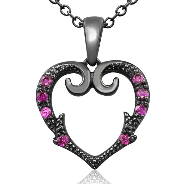 7353f11c7 1/10 Carat Victorian Ruby Heart Necklace In Black Sterling Silver, 18 Inch  Chain