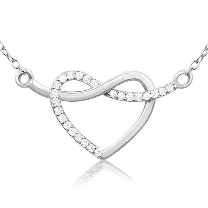 10a11f8c6b 1/10 Carat Diamond Heart Crossover Necklace In Sterling Silver, 18 Inches